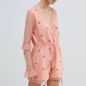 NWT Asos Glamorous corral lace romper size 8